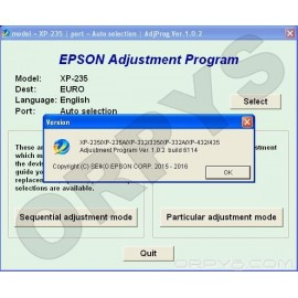 Epson XP-235, XP-235A, XP-332, XP-332A, XP-335, XP-432, XP-435 Adjustment Program
