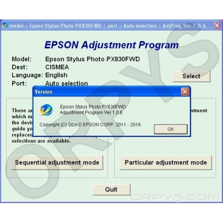 Epson PX830FWD Adjustment Program