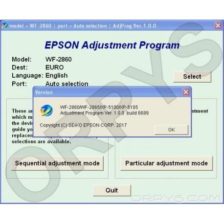 Epson WF-2860, WF-2865, XP-5100, XP-5105 Adjustment Program