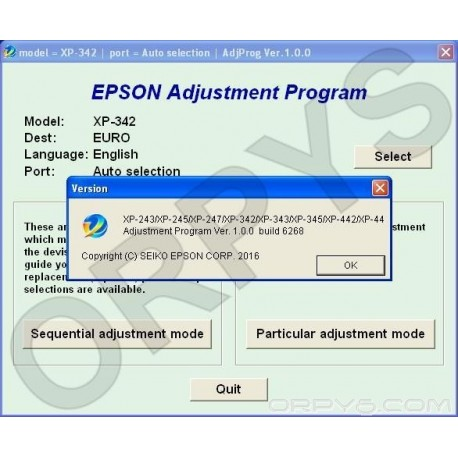 Epson XP-243, XP-245, XP-247, XP-342, XP-343, XP-345, XP-442, XP-445 Adjustment Program