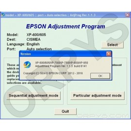 Epson XP-600, XP-605, XP-700, XP-750, XP-800, XP-850 Adjustment Program