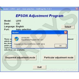 Epson L810, L850 Adjustment Program