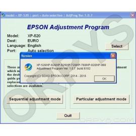 Epson XP-520, XP-620, XP-625, XP-720, XP-760, XP-820, XP-860 Adjustment Program