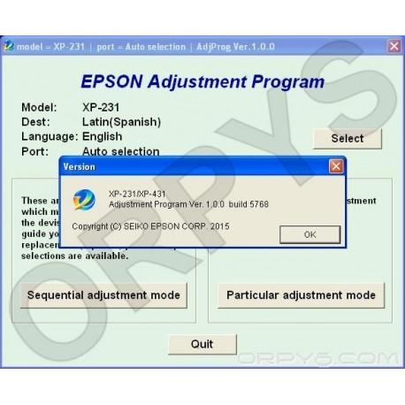 Epson XP-231, XP-431 Adjustment Program