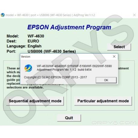 Epson WF-4630, WF-4640, WF-5110, WF-5190, WF-5620, WF-5690 Adjustment Program