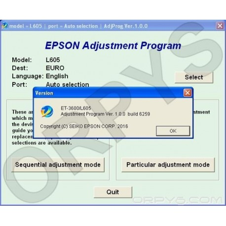 Epson L605, ET-3600 Adjustment Program