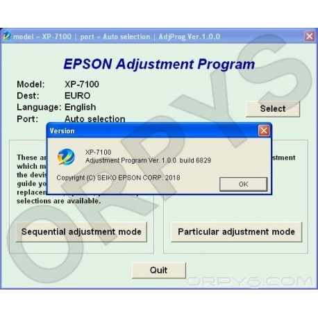 Epson XP-7100 Adjustment Program