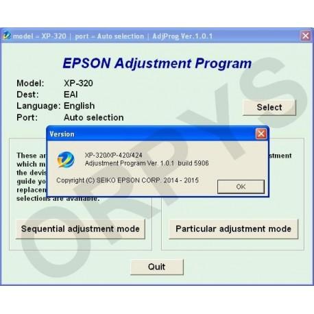 Epson XP-320, XP-420, XP-424 Adjustment Program