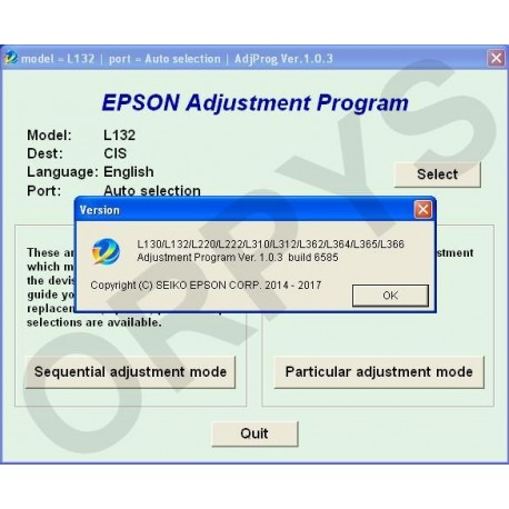 Epson L130, L132, L220, L222, L310, L312, L362, L364, L365, L366 Adjustment  Program - ORPYS