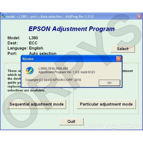 Epson L380, L383, L385, L485 Adjustment Program - ORPYS
