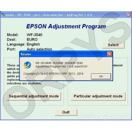 Epson WF-3010, WF-3510, WF-3520, WF-3530, WF-3540 Adjustment Program