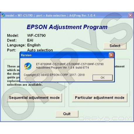 Epson ET-8700, WF-C5210, WF-C5290, WF-C5710, WF-C5790 Adjustment Program