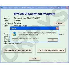 Epson SX430W, SX435W, SX440W, SX445W Adjustment Program
