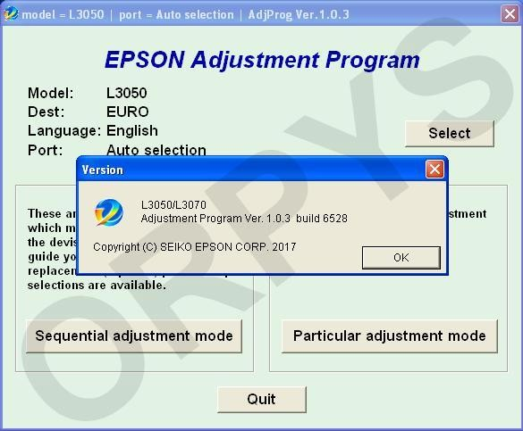 Epson L3050, L3070 Adjustment Program - ORPYS
