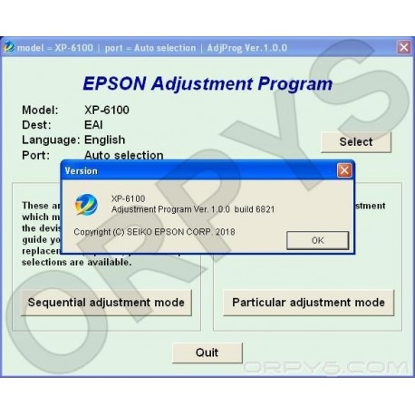 Epson XP-6100 Adjustment Program