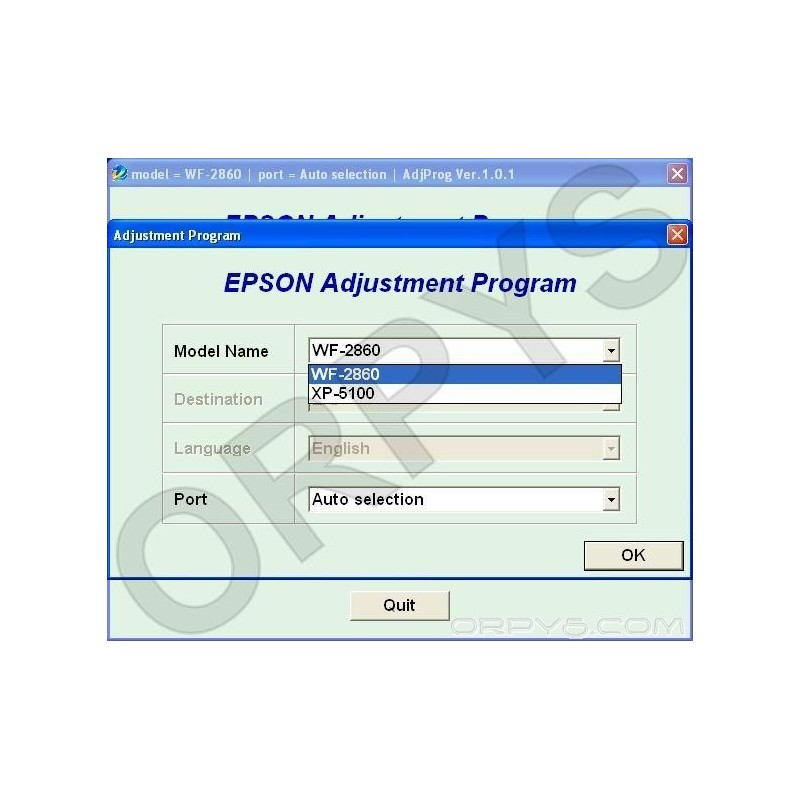 Epson WF-2860, XP-5100 Adjustment Program - ORPYS