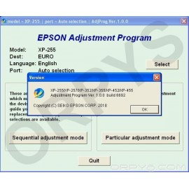 Epson XP-255, XP-257, XP-352, XP-355, XP-452, XP-455 Adjustment Program
