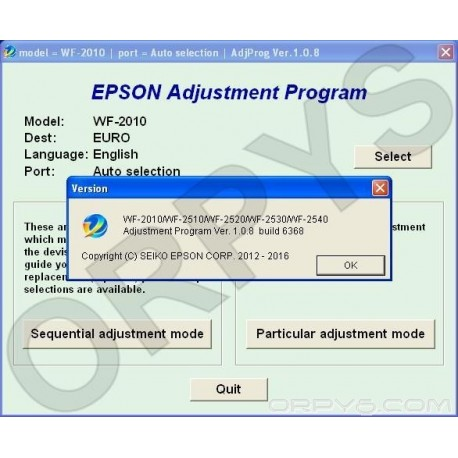 Epson WF-2010, WF-2510, WF-2520, WF-2530, WF-2540 Adjustment Program