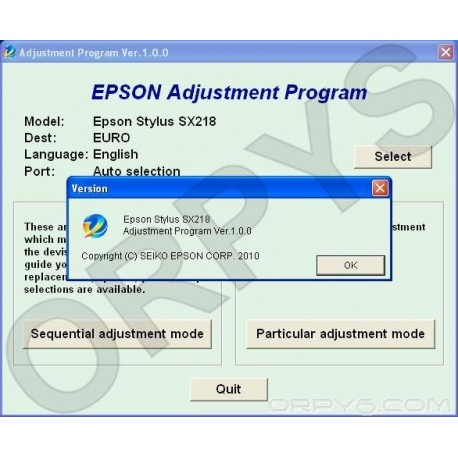Epson SX218 Adjustment Program