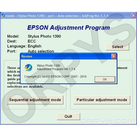 Epson Photo 1390 Adjustment Program