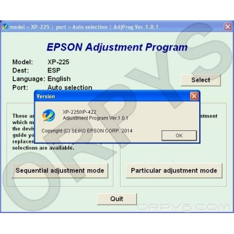 Epson XP-225, XP-422 Adjustment Program