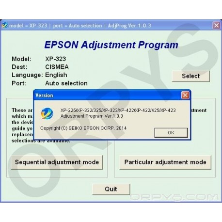 Epson XP-225, XP-322, XP-323, XP-325, XP-422, XP-423, XP-425 Adjustment Program