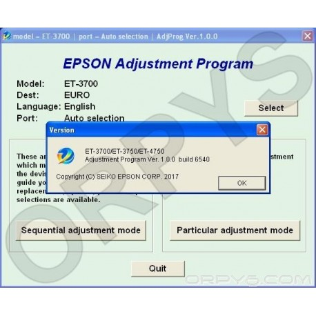 Epson ET-3700, ET-3750, ET-4750 Adjustment Program