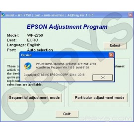 Epson WF-2650, WF-2660, WF-2750, WF-2751, WF-2760 Adjustment Program