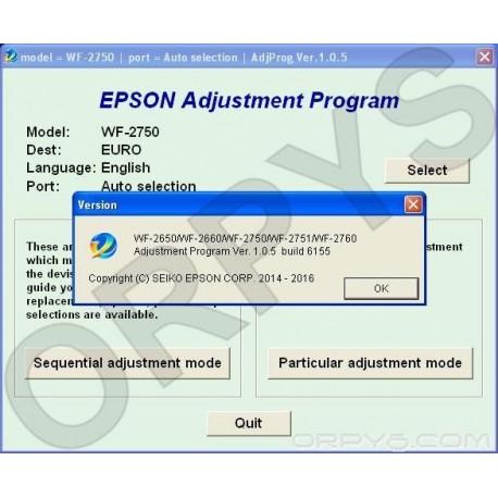 Epson WF-2650, WF-2660, WF-2750, WF-2751, WF-2760 Adjustment Program