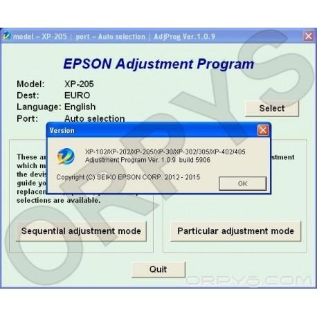 Epson XP-102, XP-202, XP-205, XP-30, XP-302, XP-305, XP-402, XP-405 Adjustment Program