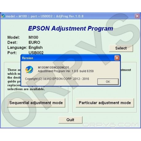Epson M100, M105, M200, M205 Adjustment Program