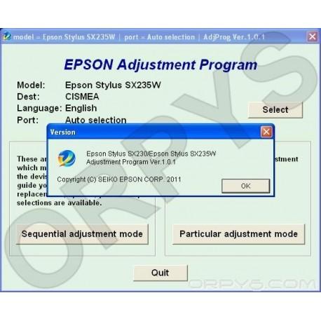 Epson SX230, SX235W Adjustment Program