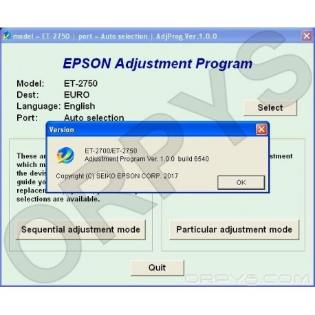 Epson ET-2700, ET-2750 Adjustment Program