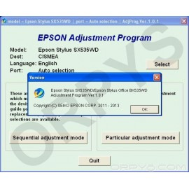 Epson SX535WD, BX535WD Adjustment Program