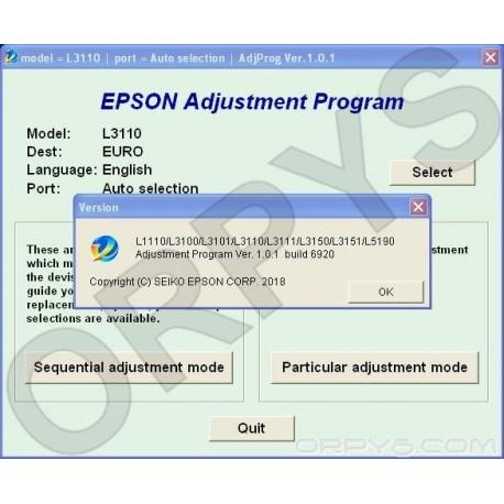 Epson L1110, L3100, L3101, L3110, L3111, L3150, L3151, L5190 Adjustment  Program - ORPYS