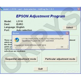 Epson L1110, L3100, L3101, L3110, L3111, L3150, L3151, L5190 Adjustment Program