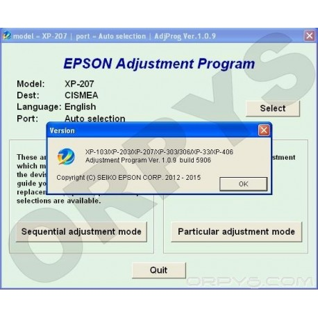 Epson XP-103, XP-203, XP-207, XP-303, XP-306, XP-33, XP-406 Adjustment Program