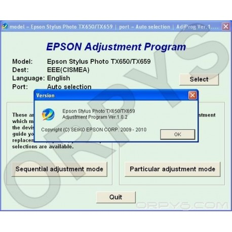 Epson TX650, TX659 Adjustment Program