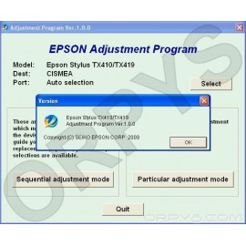 Epson TX410, TX419 Adjustment Program