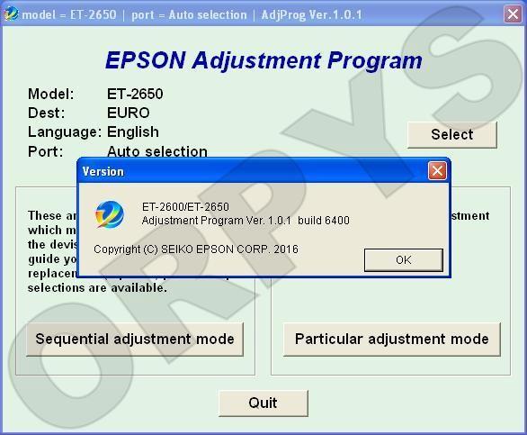 Epson ET-2600, ET-2650 Adjustment Program - ORPYS