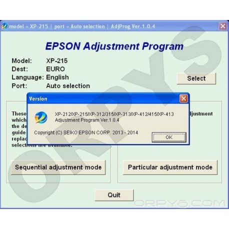 Epson XP-212, XP-215, XP-312, XP-313, XP-315, XP-412, XP-413, XP-415 Adjustment Program