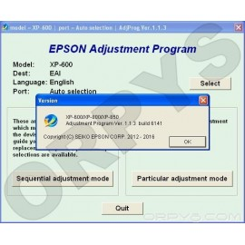 Epson XP-600, XP-800, XP-850 Adjustment Program
