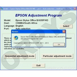 Epson BX630FW, BX635FWD Adjustment Program