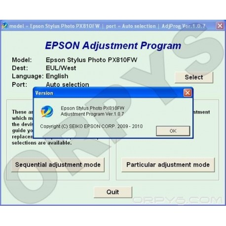 Epson PX810FW Adjustment Program