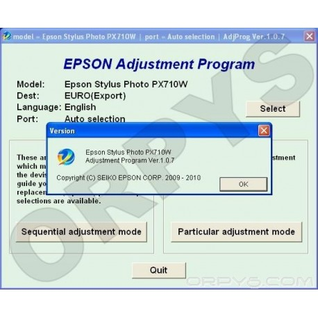 Epson PX710W Adjustment Program