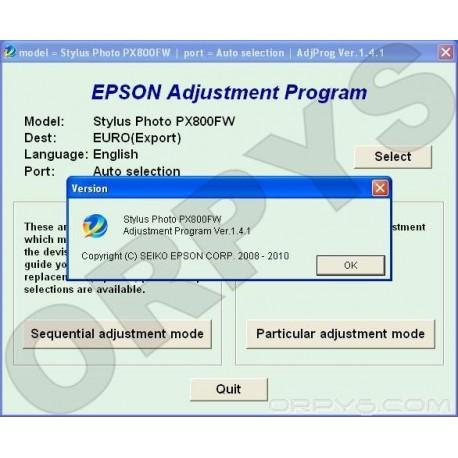 Epson PX800FW Adjustment Program