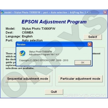 Epson TX800FW Adjustment Program