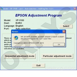 Epson XP-3100, XP-3105, XP-4100, XP-4105, WF-2810, WF-2830, WF-2835, WF-2850 Adjustment Program