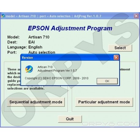 Epson Artisan 710 Adjustment Program