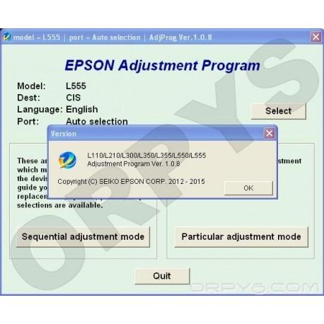 Epson L110, L210, L300, L350, L355, L550, L555 Adjustment Program